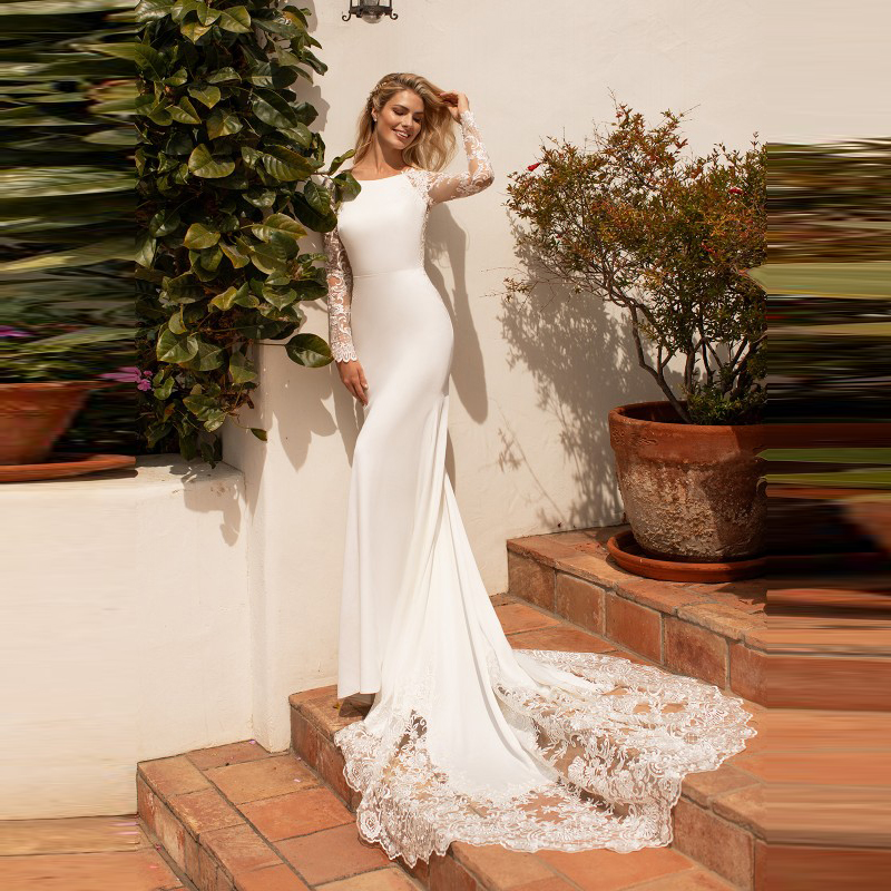 Latest Charming Mermaid Lace Long Sleeve Wedding Gowns for Bride Jewel Neck Bridal Wedding Dresses Illusion Back Appliqued