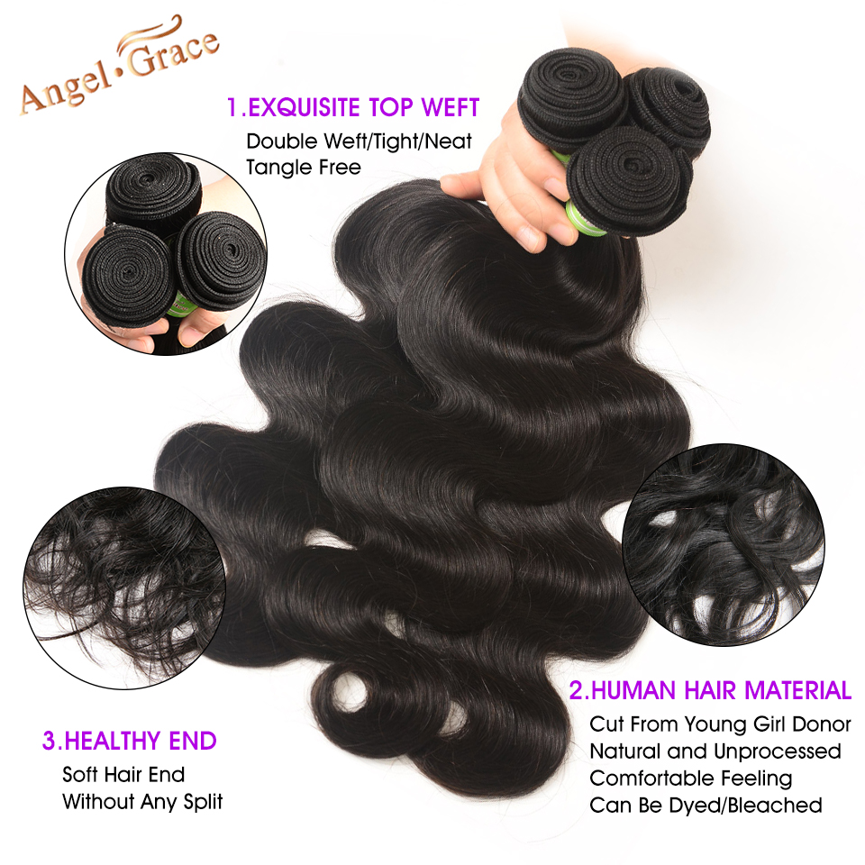 Angel Grace Hair Body Wave Bundles With Closure Remy Human Hair 3 Bundles With Closure Brazilian Hair Weave Bundles With Closure