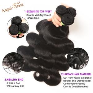 Image 2 - Angel Grace Hair doczepy typu Body Wave z zamknięciem Remy Human Hair 3 zestawy z zamknięciem brazylijskie włosy wyplata wiązki z zamknięciem