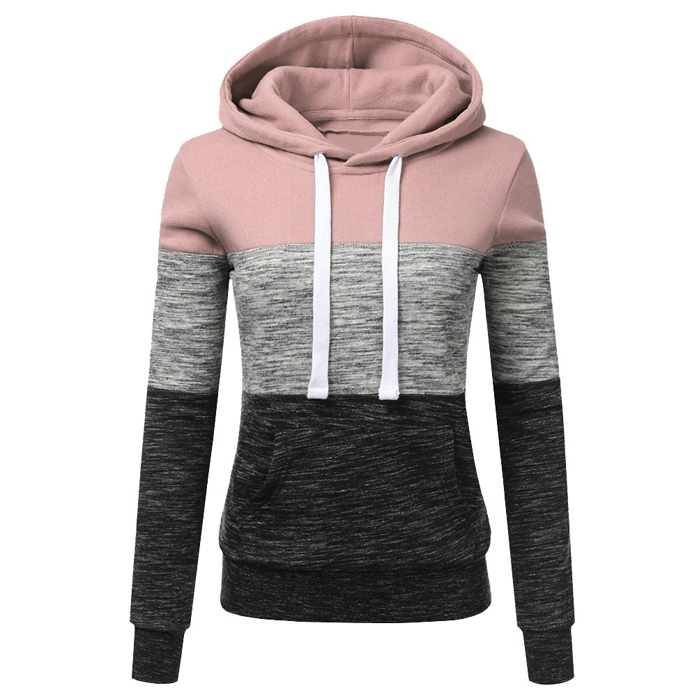 Women Sweatshirts Autumn Winter Hoodies Long Sleeve Hoody Ladies Zipper Pocket Patchwork Hooded Sweatshirt Female Outwear#L
