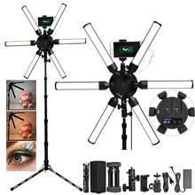 FOSOTO-Iluminación fotográfica Multimedia, luz Led extrema para vídeo, lámpara de luz de estrella Led de 60W con trípode USB para maquillaje de teléfono, Youtube