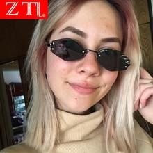 ZT Unique Iron Rings Decoration Women Rimless Sunglasses Retro Men Dark Green Punk Square Glasses UV400