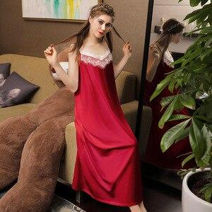 Image 1 - Falda larga Sexy de verano para dormir, 100% blanca de algodón, ropa de dormir con tirantes finos, camisón de noche sin mangas para mujer, camisón de lencería