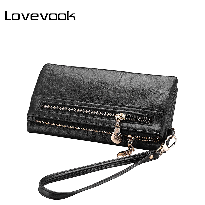 LOVEVOOK Women Wallet Long Purse Card Holder Female Multi Card Slots With Wrist Strap Coin Pocket For Ladies Clutch