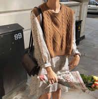 Nouveau o cou filles pull gilet pull automne hiver court tricoté femmes chandails gilet sans manches chaud pull décontracté surdimensionné