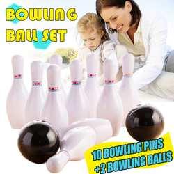 12 pçs crianças jogo de boliche conjunto 10 pinos de boliche + 2 bolas de boliche brinquedo interativo engraçado esportes não tóxicos ao ar livre indoor