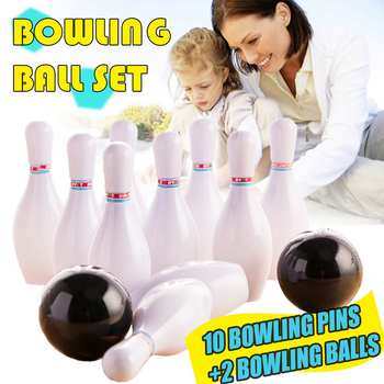12PCS Kids Bowling Play Set 10 Bowling Pins + 2 Bowling Balls Interactive Toy Funny Non Toxic Sports Indoor Outdoor