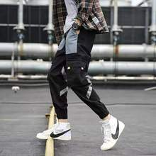 Men #8217 s Side Pockets Cargo Harem Pants Hip Hop Casual Male Tatical Joggers Trousers Fashion Casual Streetwear Pants XXL cheap Acacia Person Flat Polyester REGULAR 28 - 40 757578 Midweight Broadcloth Ankle-Length Pants Elastic Waist Spring Autumn