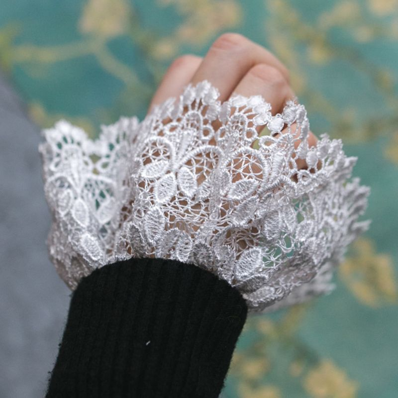 Fashion 2pcs/pair Women Girl Fake Cuff Gloves Crotchet Floral Lace Pleated Ruched Hollow