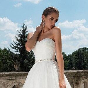 Image 4 - Vestidos de casamento de princesa, vestido de casamento de cintura cristal, plissado, com decote nas costas nuas, branco plus size