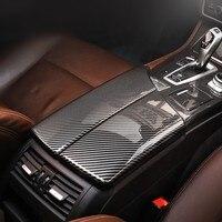 Estilo do carro apoio de Braço Central Caixa de Proteção Da Tampa Da Guarnição Para BMW Série 5 F10 2011-2017 LHD Fibra De Carbono Cor Acessórios Interior