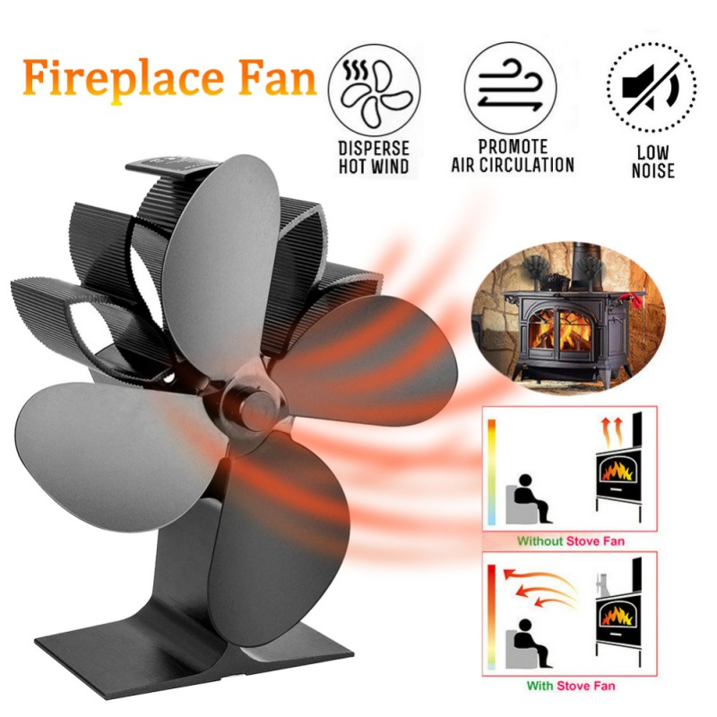 4 Blades Heat Powered Fireplace Fan Silent Operation Eco-Friendly Stove Fan Circulating Warm Air For Wood Burning Dropship Black