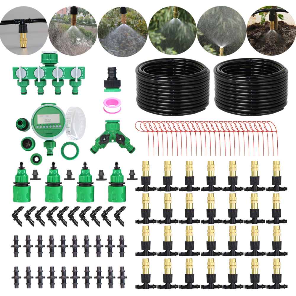 MUCIAKIE 50M-5M Garden Micro Misting Irrigation Cooling System Automatic Timer Patio Mist Brass Nozzle Adjustable Spray Kits