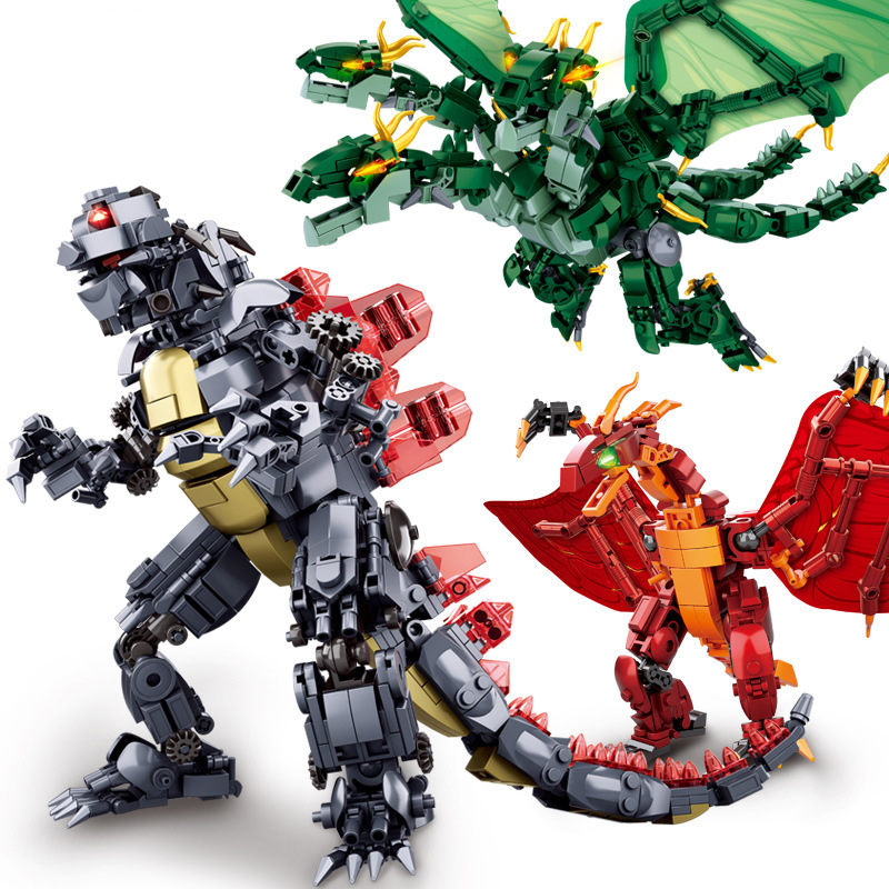 Sluban Godzillaingly Giant Ghidrahed Rodaned   Building Block King Of The Monstersed Bricks Toys Constructor
