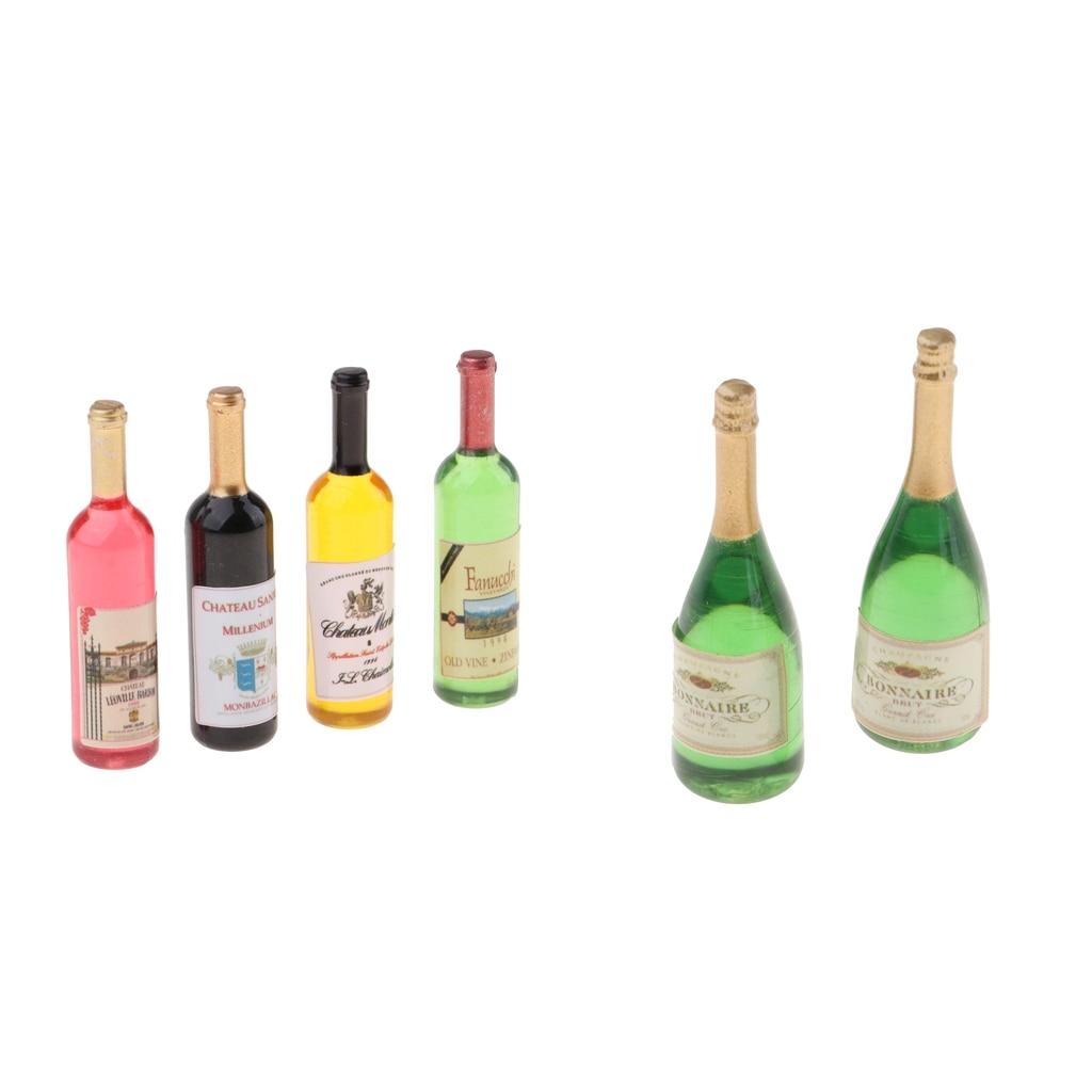 11Pcs 1:12 Dollhouse Glass Wine Bottles Kitchen Bar Champagne Decor Ornament