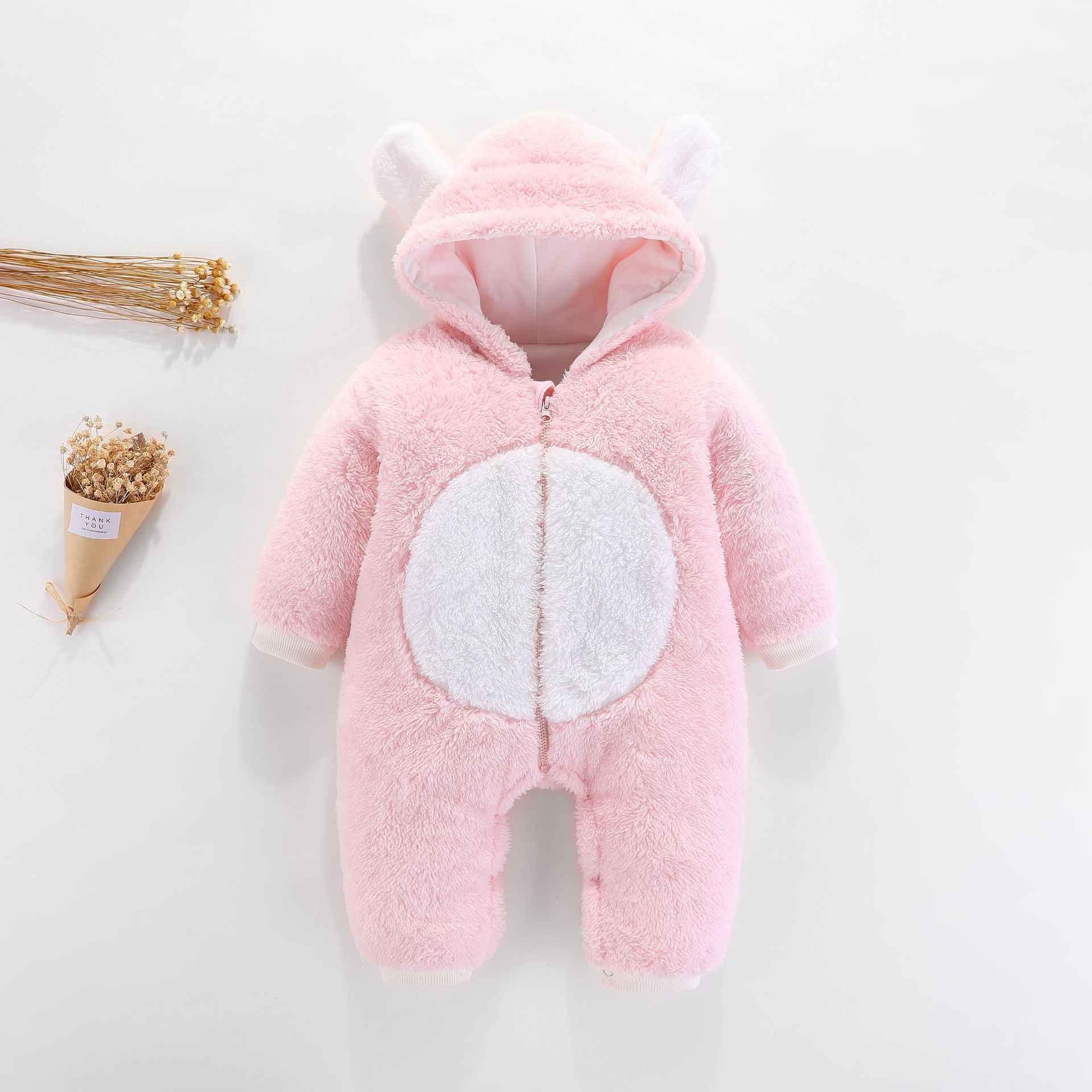 Зимний комбинезон для малышей 3-12 месяцев, милая толстовка с капюшоном, одежда для малышей, комбинезоны для новорожденных девочек и мальчиков, теплая верхняя одежда, комбинезоны
