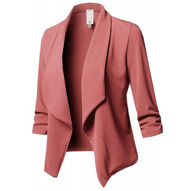 2020 Arrival Women Autumn Winter Pleated Solid Color Jackets Lapel Casual Long Sleeves Slim Warm Coat Office Lady Female Blazer