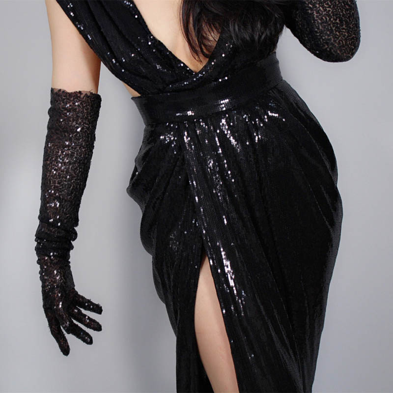 Sexy Long Black Sequins Prom Gloves Stretchy 1920s Opera Gloves Evening Party Dance Gloves For Bride Women ST316