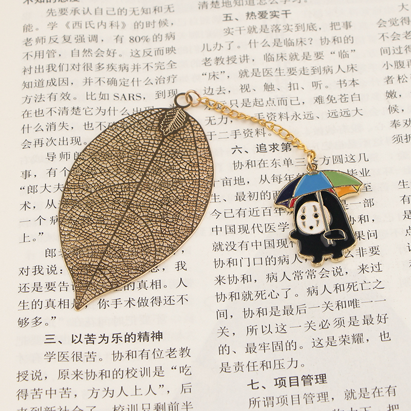 CA784 Wholesale 10pcs/lot NO FACE MEN Metal Bookmarks For Books Leaf Context Chain Bookmarks Office School Stationery Items
