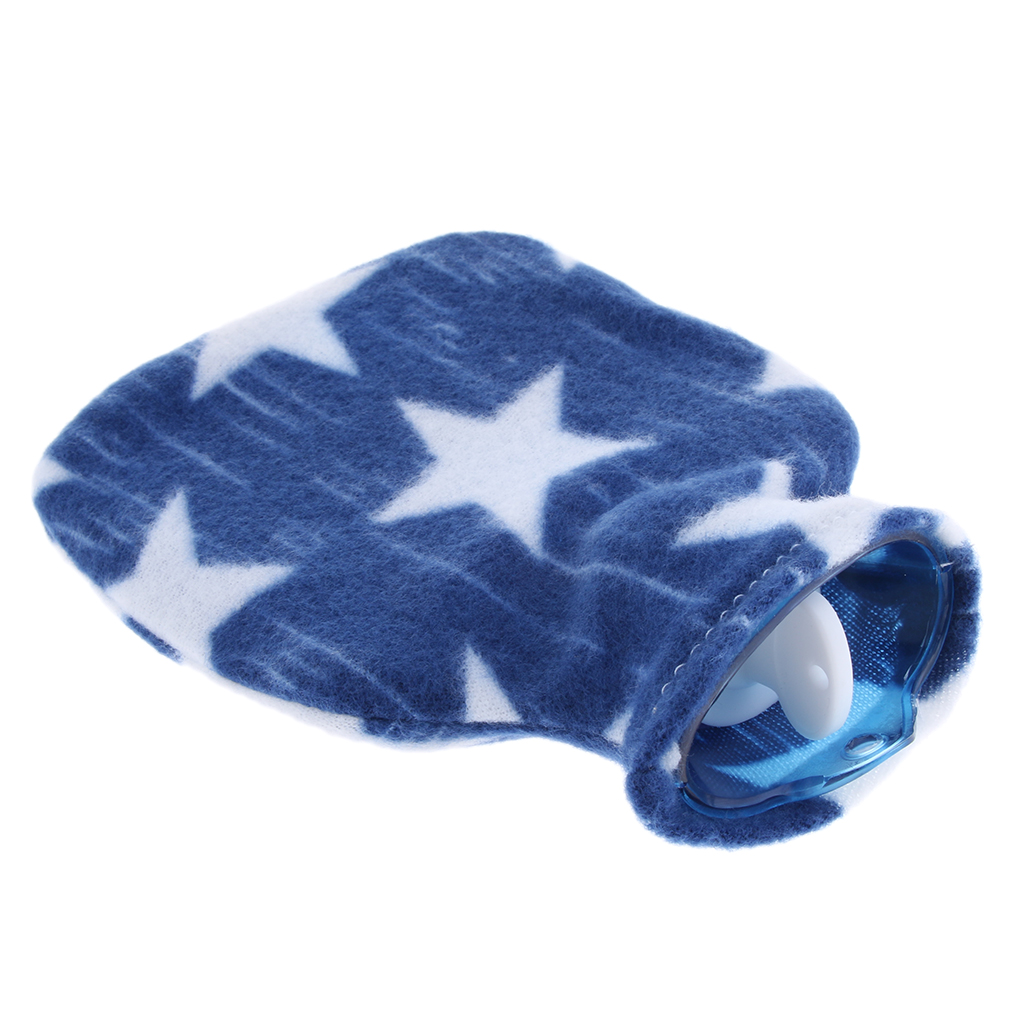 Mini Hot Water Bottle with Screw Top and Soft Cover, 250ml Hand Foot Winter Warming, Menstrual Cramps Stomach Pain Ease