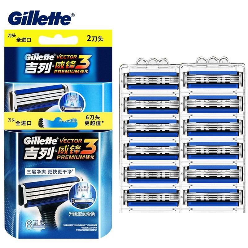 Image 4 - Gillette Сенсор Excel сменные лезвия для бритвы ультра тонкий 3 Слои острая, для бритья лезвия Vector3 Для мужчин уход за кожей лица носа волос Бритва заменить для заправки зажигалокБритва   -