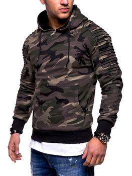 Harajuku Solid Color Hoodie Men's Unisex Fashion Sweatshirt Camouflage Hip-hop Hoodie Men's Striped Pleated Raglan Sleeve Hoodie striped trim raglan sleeve jacket
