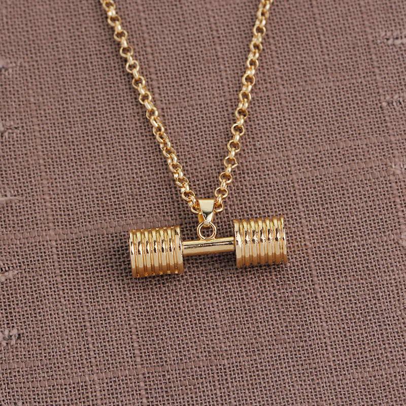 Sprzedaż hurtowa gorąca sprzedaż złoty czarny hantle naszyjnik kulturystyka siłownia brzana naszyjnik dla kobiet mężczyzn biżuteria sportowa