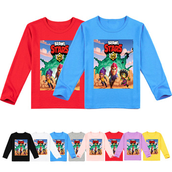 Brawls Spike ropas con estrellas niños 3D Cartoon Game camiseta Nita Brawls Poco Star Colt Shelly Camiseta de manga larga para niño camiseta