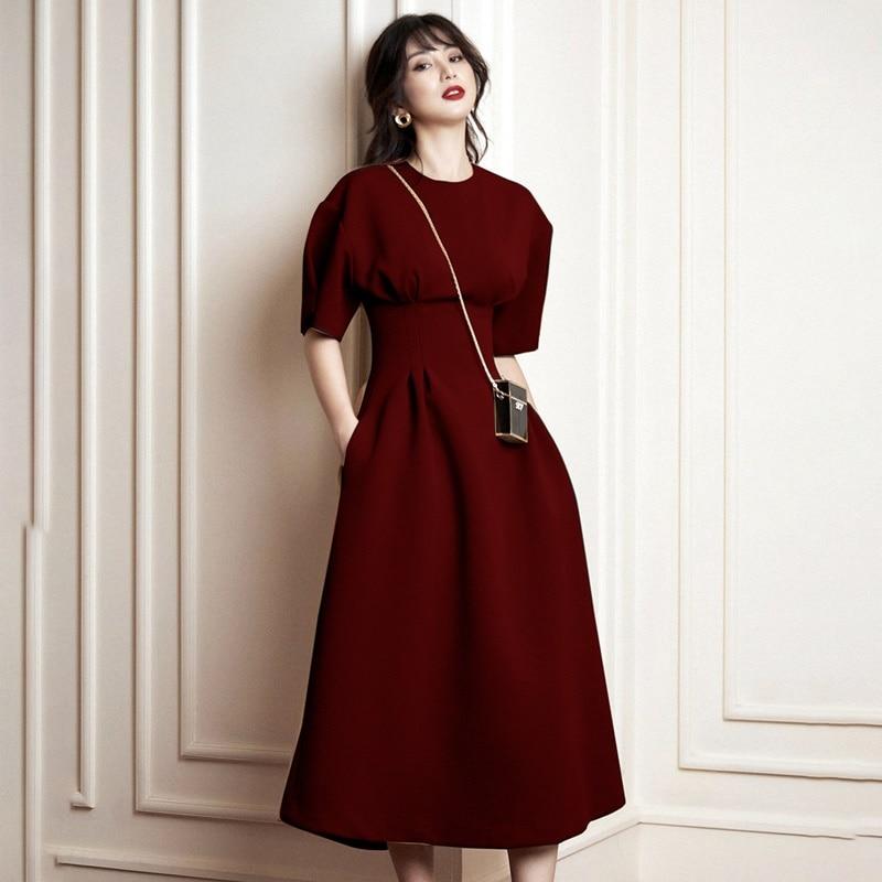 Verão outono mangas curtas o pescoço vestido ol colete cintura vermelha longo formal vestido feminino vestidos elegantes nova chegada 2019 aa5090 - 5