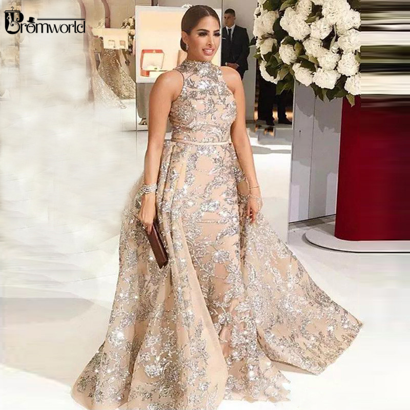 Sparkly Glitter Sequin Lace Prom Gown Champagne Mermaid Evening Dresses Long Detachable Train Arabic Plus Size Formal Dress 2019
