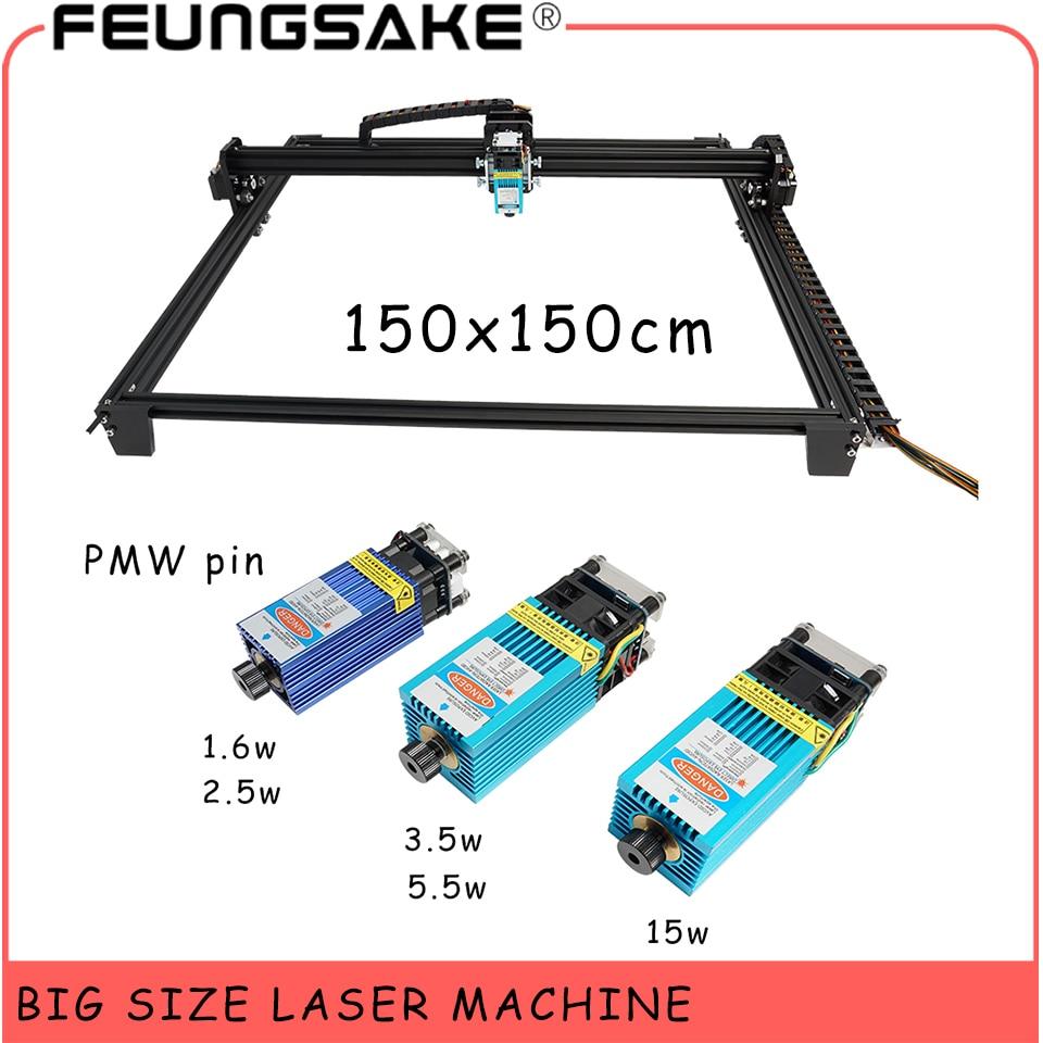 150*150cm Big Size Laser Engraver Ttl 15w Laser Machine PMW Control CNC Laser Cutter 5500mw Laser,1600mw Laser Engraving Machine