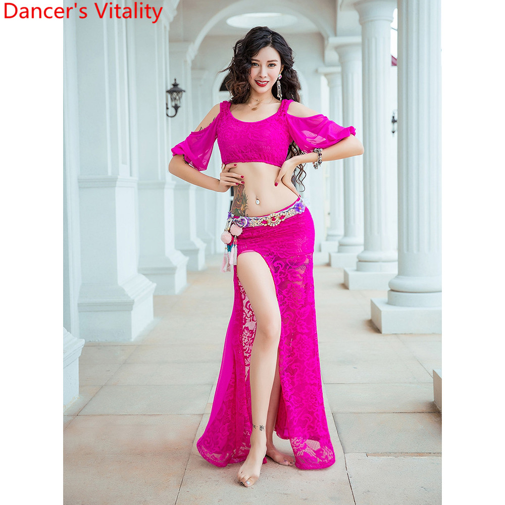 Belly Dance Practice Training Clothes Cut Out Lace Splicing Top Skirt Set Women Oriental Indian Dancing Beginners Stage Wear