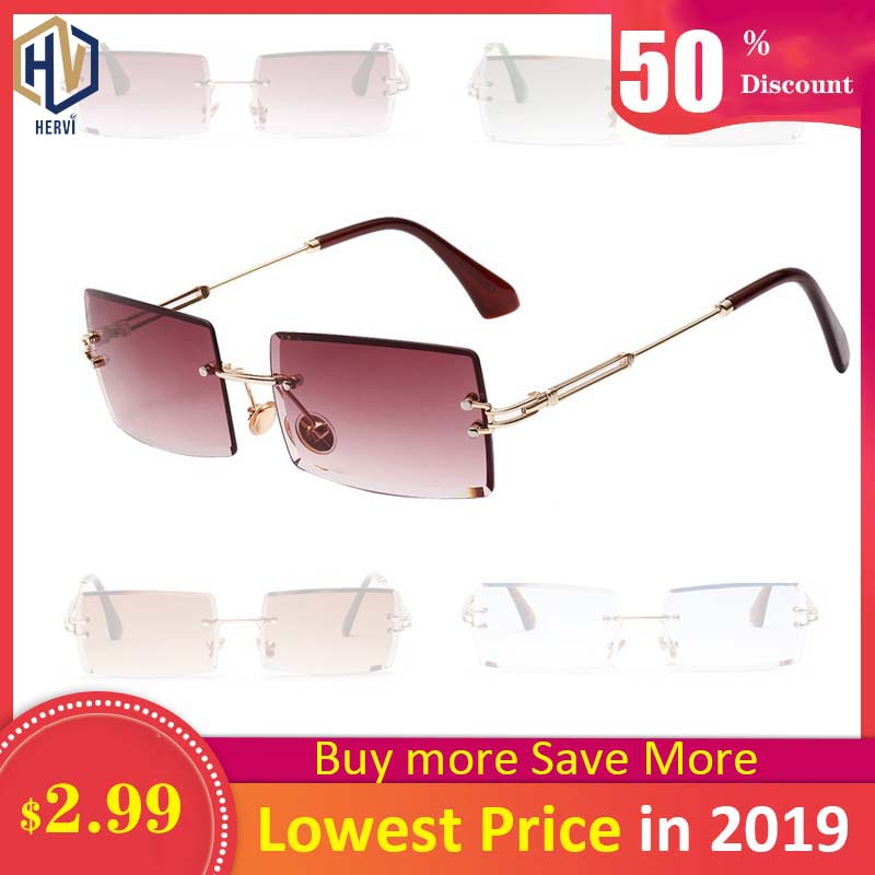 Sunglasses Women Retro Small Rectangle Rimless Square Sun Glasses 2019 Summer Style Female Green Blue