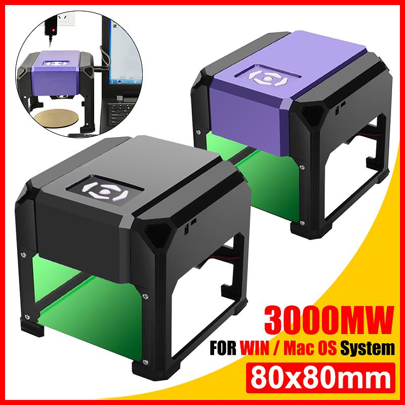 3000mW CNC Laser Engraver Mini USB DIY Desktop Logo Mark Printer Cutter Laser Engraving Machine Woodworking Wood Router 80x80mm