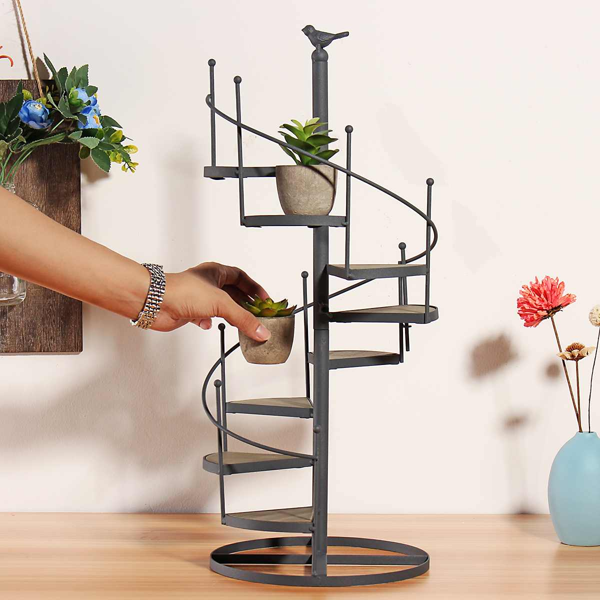 Modern Decorative Iron Plant Rack Stand Plants Succulent Shelf 8 Layer Stair Shape Desktop Garden Flower Stand + Wood Plate