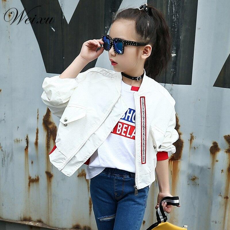 2019 детская верхняя одежда на весну и осень, пальто для девочек, белая байкерская куртка с рукавами «летучая мышь», Детская школьная одежда, куртка бомбер