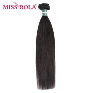 Image 3 - מיס רולה ישר שיער פרואני שיער חבילות עם סגירת 100% Huaman שיער 3 חבילות 8 26 Inch רמי שיער תוספות