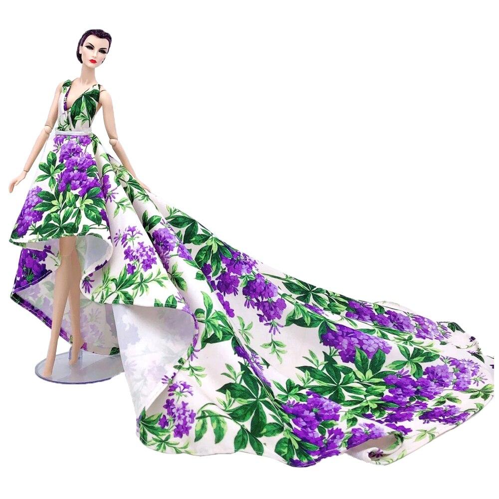 NK 1xDoll Dress Purple Backless Tuxedo Dressup Doll Dress Flowers Pattern Fashion Modern Wedding Dress  For Barbie Doll 51B 3X