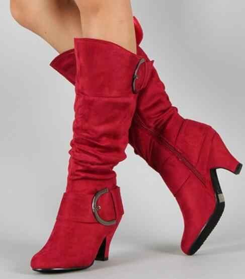 Lloprost ke ขนาดใหญ่ 43 2019 เข่ารองเท้าบูทสูงฤดูใบไม้ร่วง Faux หนังนิ่มแฟชั่น Spike Heels รองเท้าผู้หญิงฤดูหนาวขายร้อน