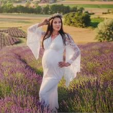 Pregnant-Women Maxi-Gown Wedding-Dresses Party-Dress Photo-Props Shoot Maternity-Flared-Sleeves