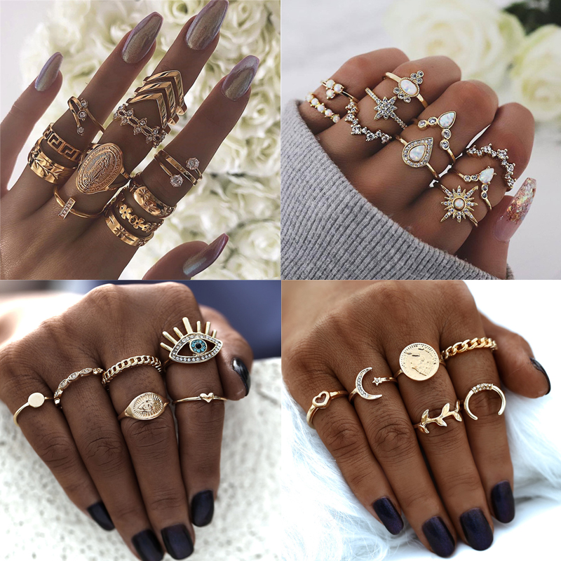 Bohemian Gold Color Metal Rings Set for Women Vintage Stacking Crystal Star Geometric Knuckle Ring Party Wedding Jewelry Gift