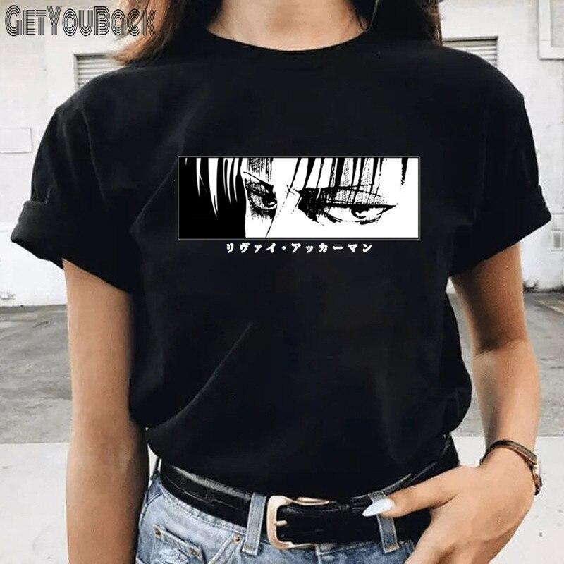 Anime ataque em titã engraçado preto camiseta feminino o pescoço harajuku manga 90s topos t roupas da menina, navio da gota