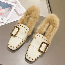 2020 New Rabbit Fur Pumps Square Heeled Dress Shoes Winter Pump Loafers Square Toe Woman Shoes Faux Fur Office Lady Pumps Shoes(China)