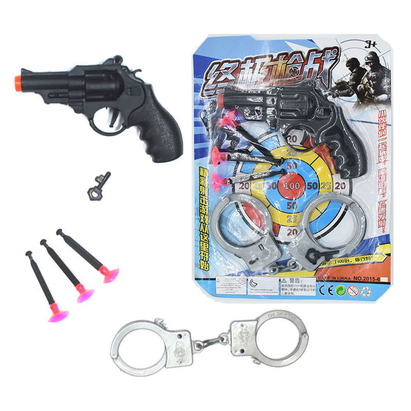 Kids-Emission Pistol Blister Card-Revolver Soft Bullet Gun With Handcuffs Police Model Children Stall Toy Wholesale