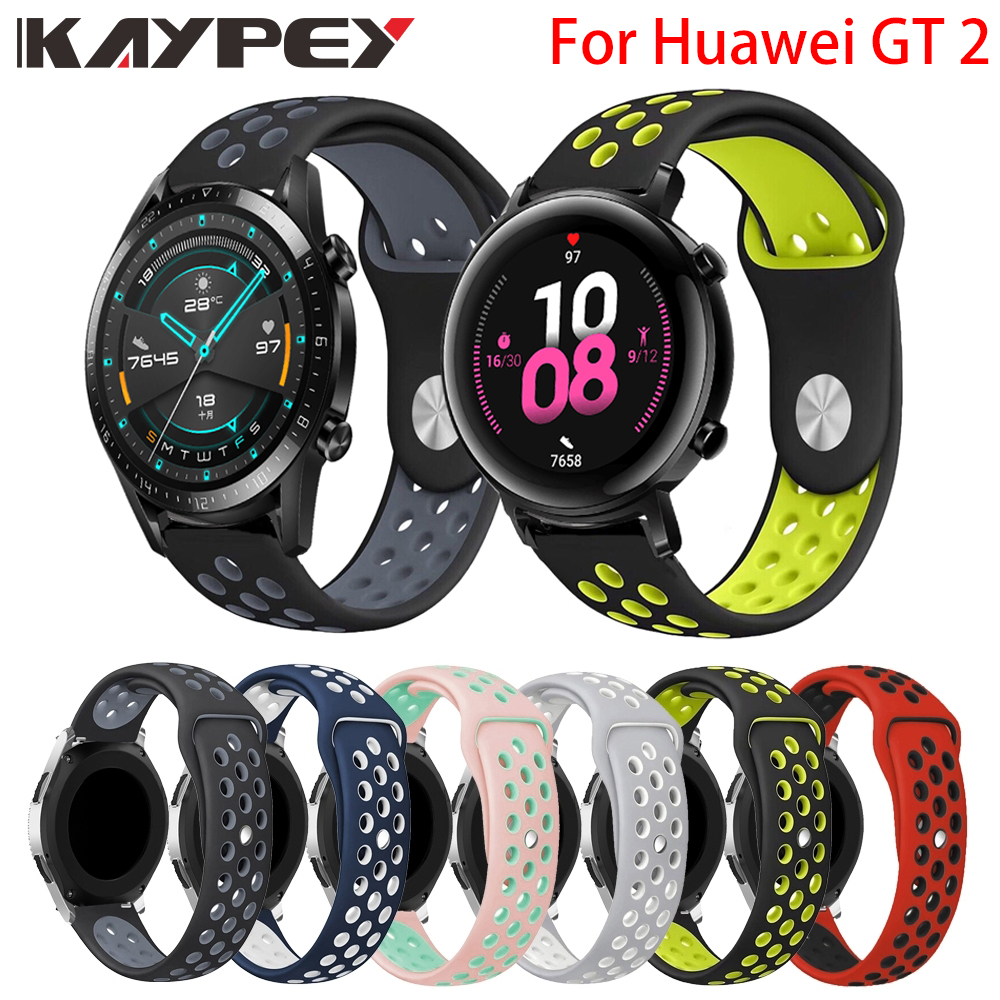 Colorful Soft Silicone Watch Band Strap For Huawei GT2 42MM 46MM Breathable Bracelet Replacement Wristbands For Huawei Gt Gt 2