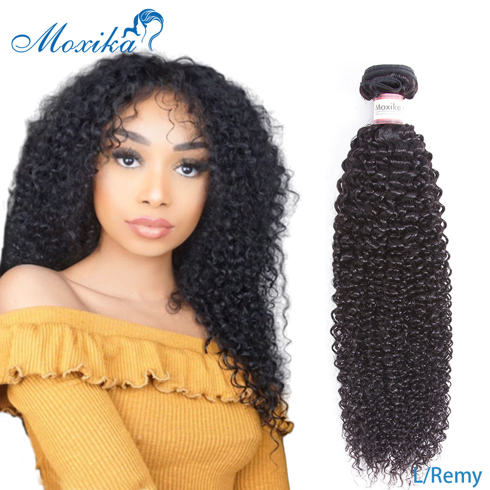 Moxika Hair Mongolian Kinky Curly Hair 1/3 Bundles Low Ratio 8-26 Inches Remy Human Hair Weave Hair Extensions Natural Black