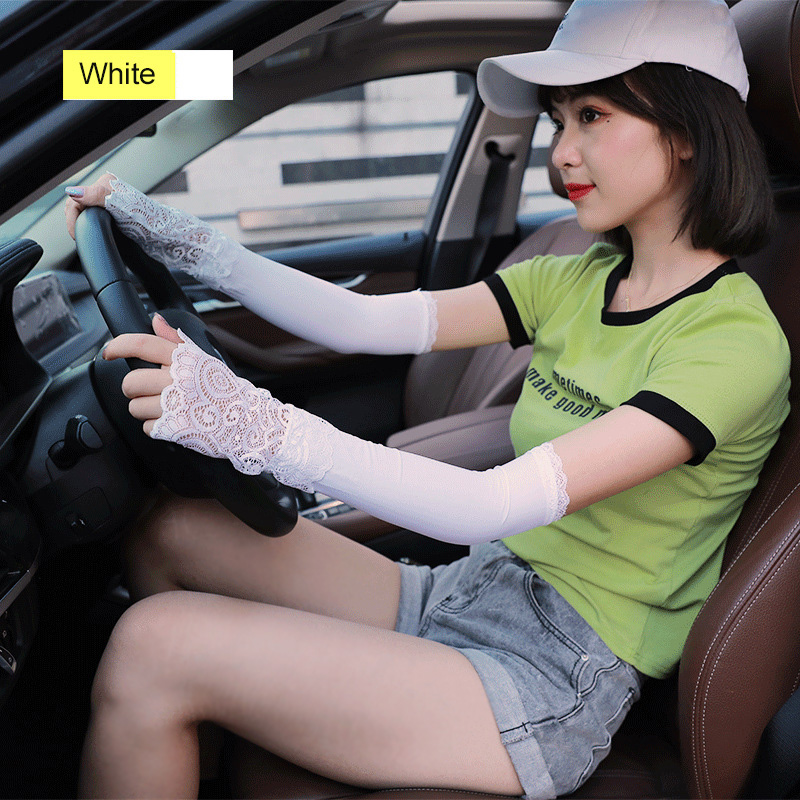 Women Sunproof Ice Silks Arm Sleeve Lace Sun UV Protection Cooling Sleeves For Outdoor Sports JL