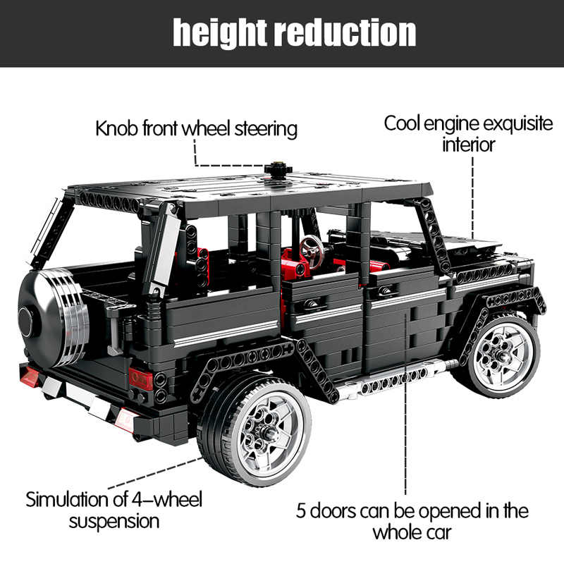 1388 pçs cidade criador suv cross country carro blocos de construção técnica rc/não-rc carro awd wagon tijolos brinquedos para crianças