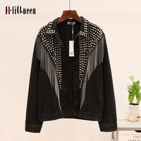 Chaquetas Mujer 2019 Autumn Streetwear Denim Jacket Women Hand studded Rivet Tassel Chain Short Jeans Jacket Loose Black Coats