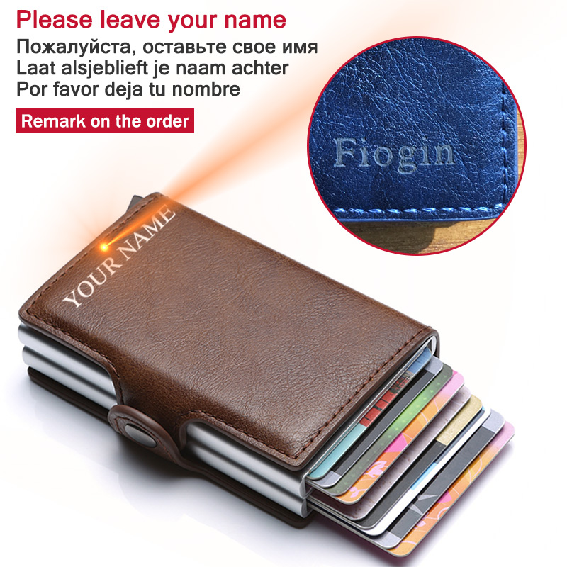 Engraving Name RFID Blocking Credit Card Holder Bank Men Wallet Card Holder Male Purse PU Leather Double Aluminum Box Purse